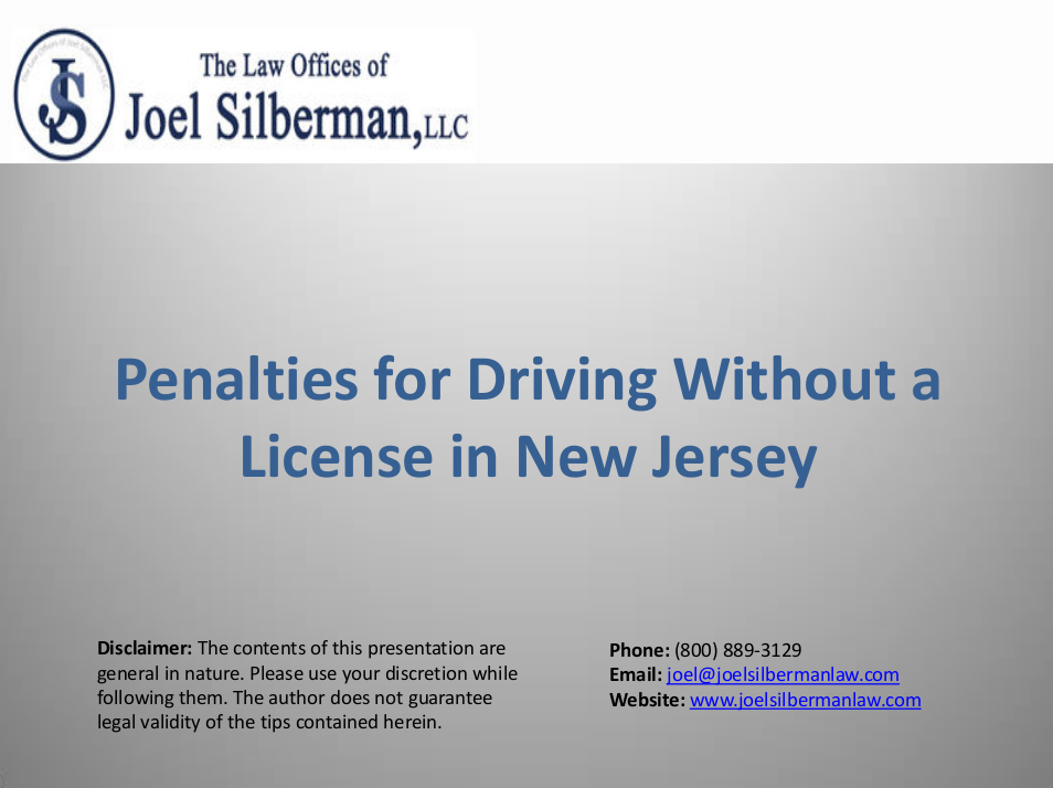 Penalties for Driving Without a License in New Jersey